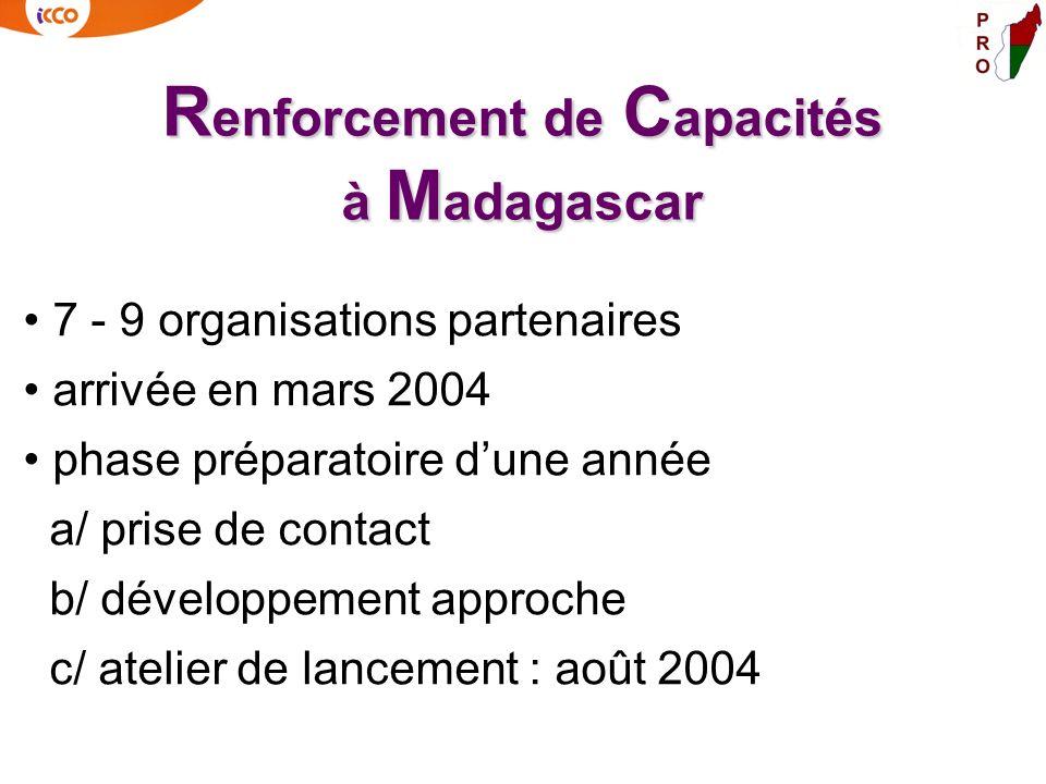 R enforcement de C apacités à M adagascar 7 - 9 organisations partenaires arrivée en mars 2004 phase préparatoire dune année a/ prise de contact b/ dé