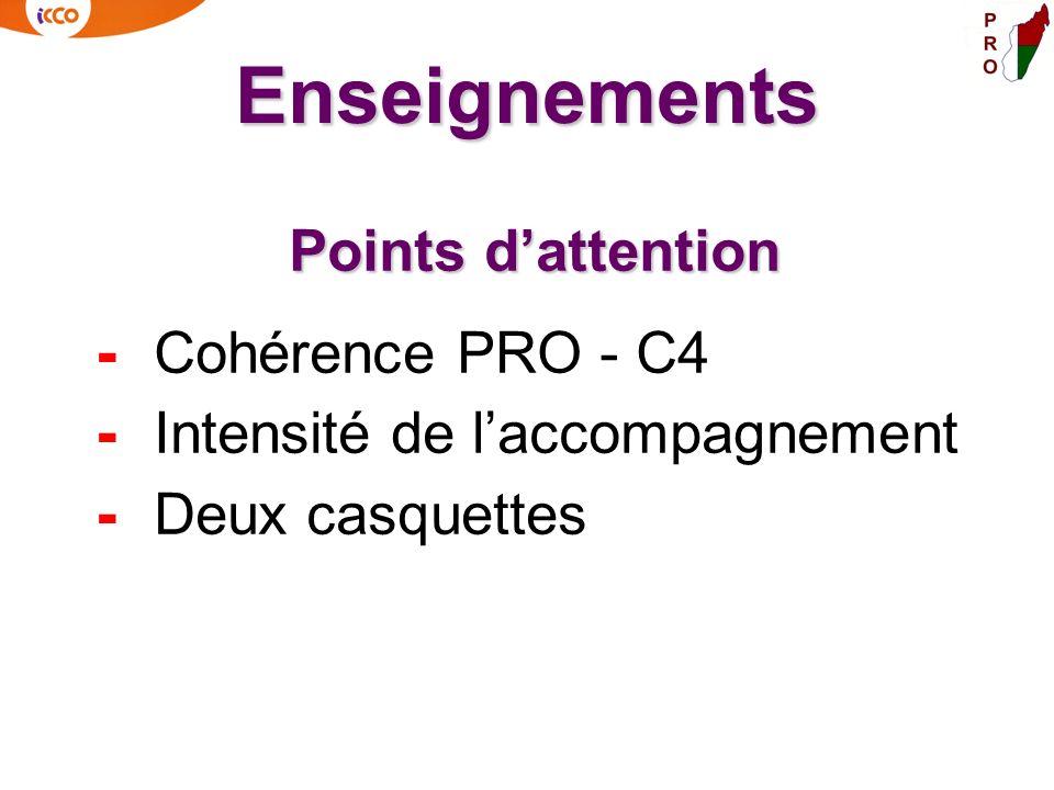 Enseignements Points dattention - Cohérence PRO - C4 - Intensité de laccompagnement - Deux casquettes