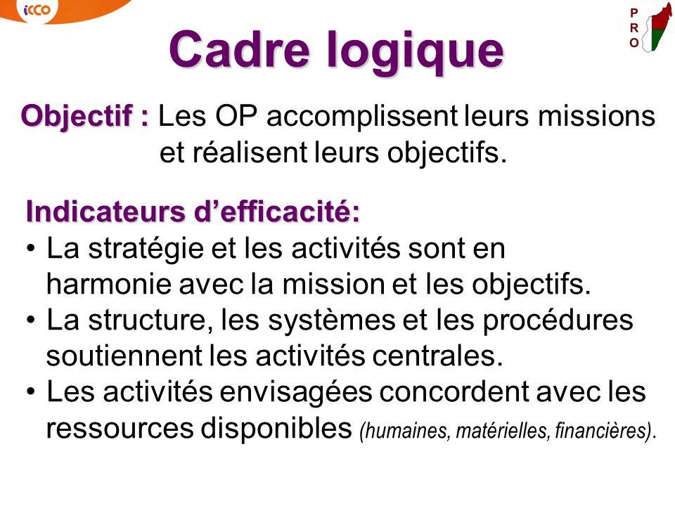 Objectif : Objectif : Les OP accomplissent leurs missions et réalisent leurs objectifs. Cadre logique Indicateurs defficacité: La stratégie et les act