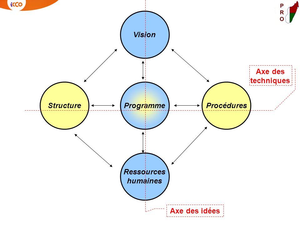 Structure Vision Ressources humaines ProgrammeProcédures Axe des idées Axe des techniques