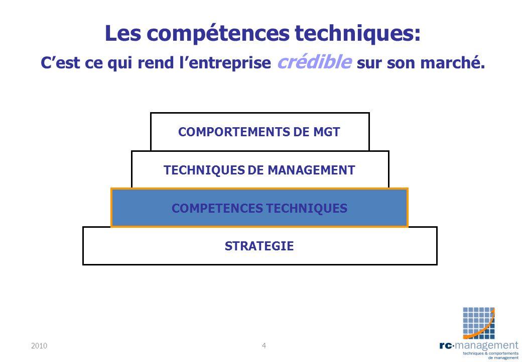 Les compétences techniques: Cest ce qui rend lentreprise crédible sur son marché. STRATEGIE TECHNIQUES DE MANAGEMENT COMPORTEMENTS DE MGT COMPETENCES