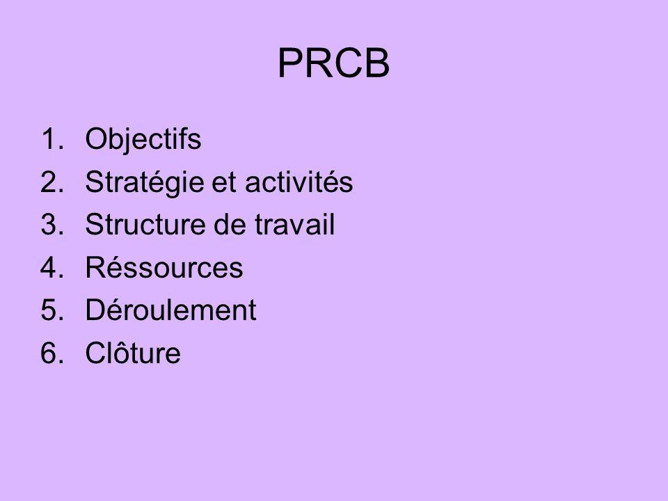 PRCB 1.Objectifs 2.Stratégie et activités 3.Structure de travail 4.Réssources 5.Déroulement 6.Clôture