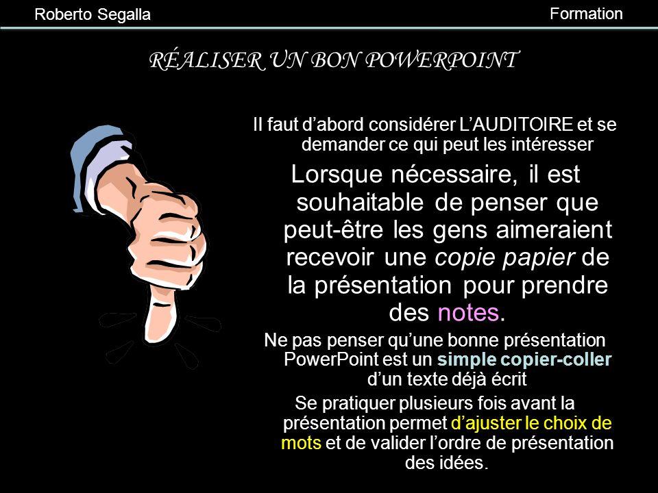 Roberto Segalla Formation 4 e partie Exemples et contre-exemples à lappui! Critiquons quelques diapositives…