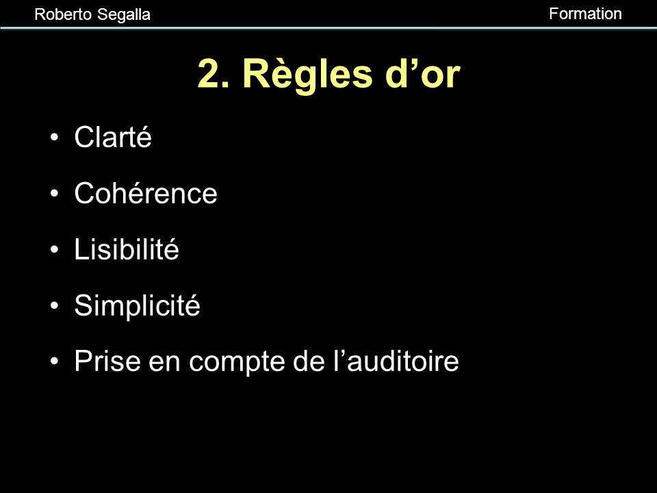 Roberto Segalla Formation Plan du guide 1.Règles dor 2.Procédures et techniques 3.Exemples et contre-exemples à lappui 4.Derniers préparatifs 5.Pour e