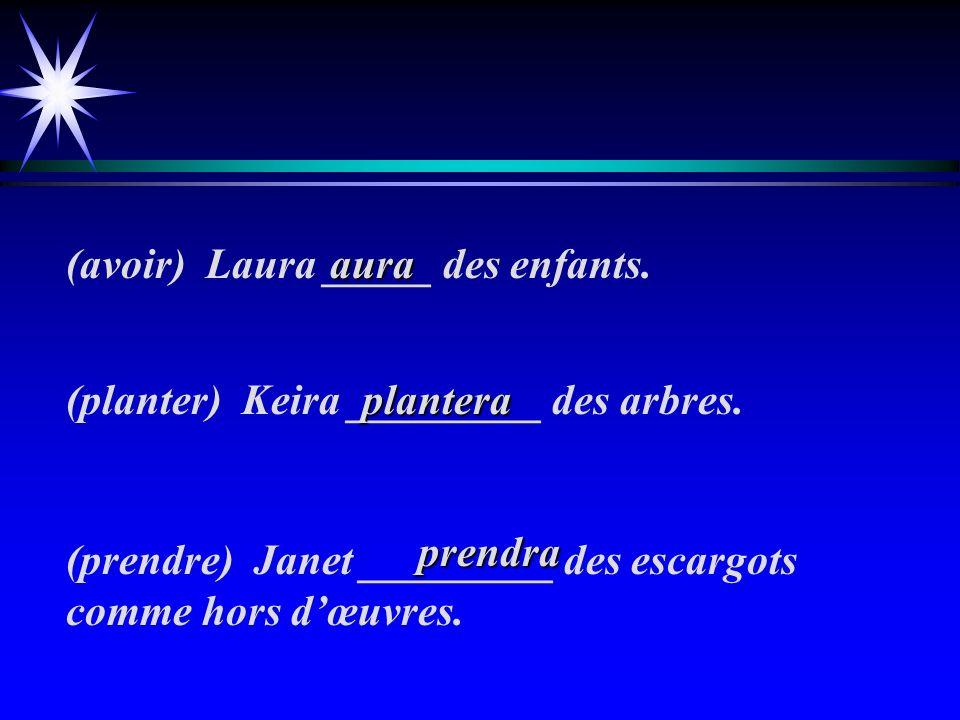(avoir) Laura _____ des enfants.(planter) Keira _________ des arbres.