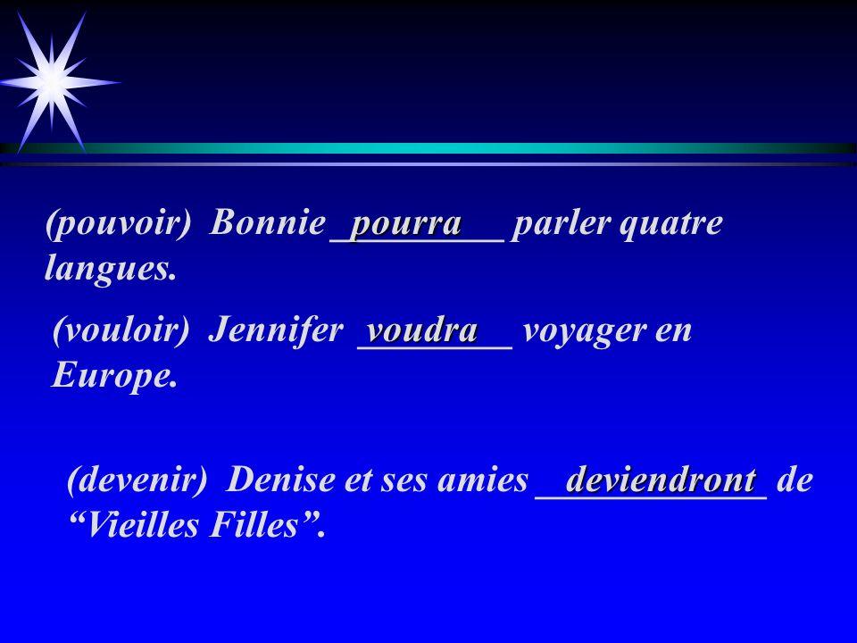 (employer) Jorie __________ son français en Europe. (recevoir) Julia ________ un cadeau de Noël. (revenir) Jessica __________ à HC pour donner des leç