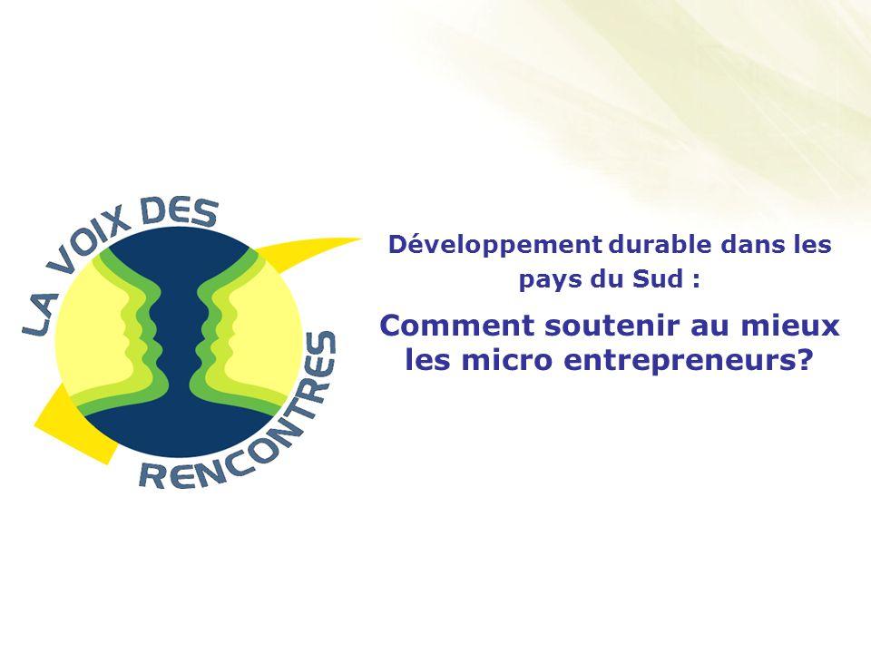 1 Développement durable dans les pays du Sud : Comment soutenir au mieux les micro entrepreneurs?