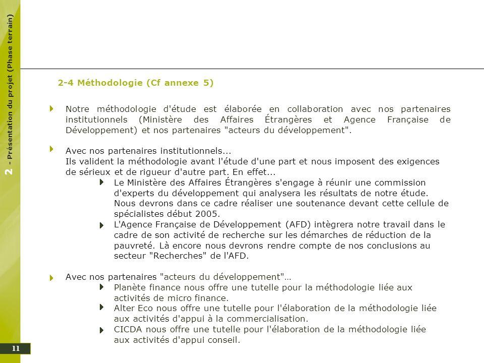 Notre méthodologie d'étude est élaborée en collaboration avec nos partenaires institutionnels (Ministère des Affaires Étrangères et Agence Française d