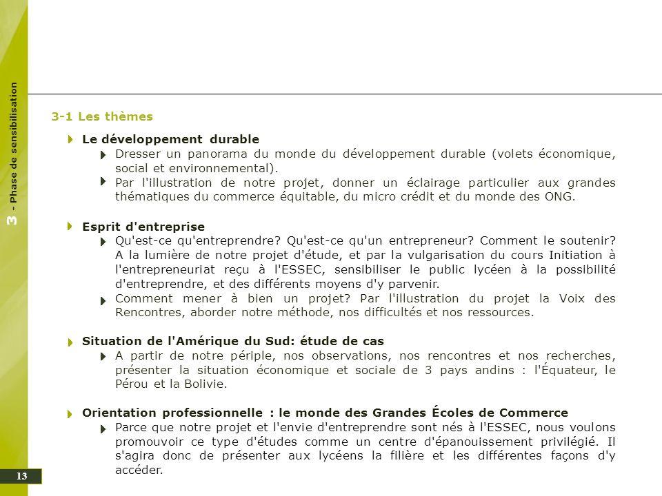 13 3-1 Les thèmes Le développement durable Dresser un panorama du monde du développement durable (volets économique, social et environnemental). Par l