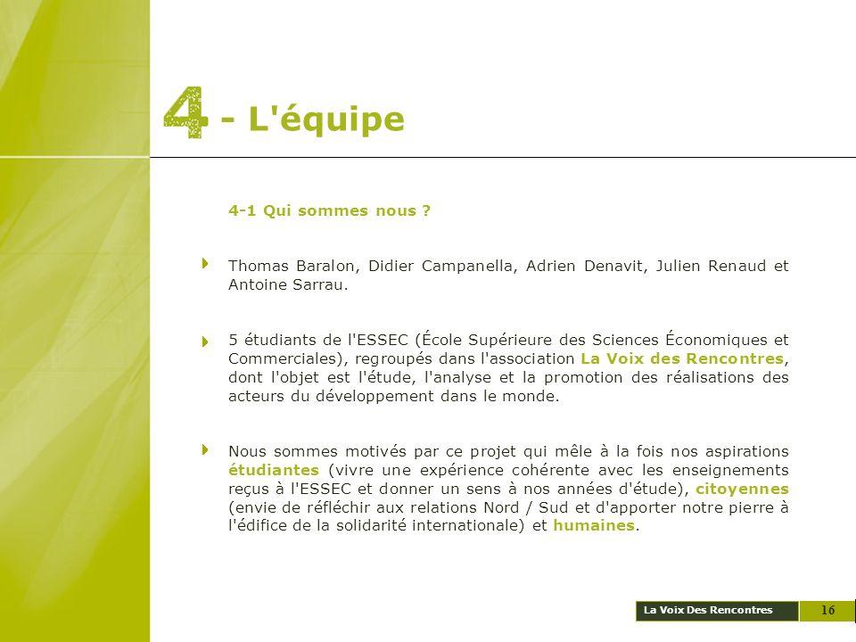 La Voix Des Rencontres - L'équipe 4-1 Qui sommes nous ? Thomas Baralon, Didier Campanella, Adrien Denavit, Julien Renaud et Antoine Sarrau. 5 étudiant