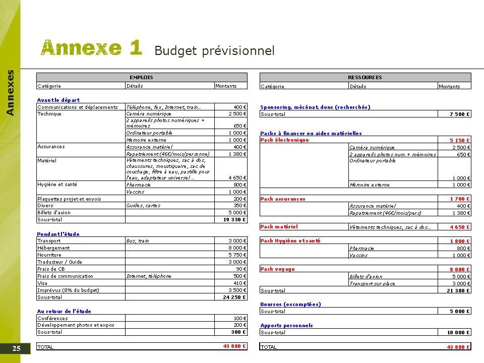 25 Annexes Budget prévisionnel