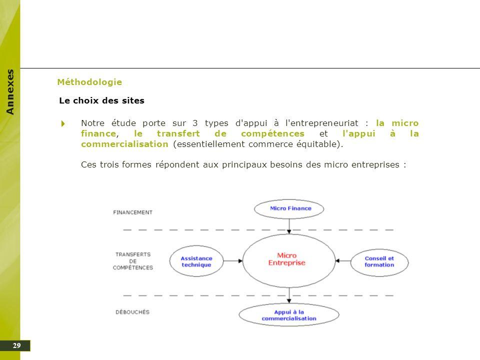 Annexes 29 Notre étude porte sur 3 types d'appui à l'entrepreneuriat : la micro finance, le transfert de compétences et l'appui à la commercialisation