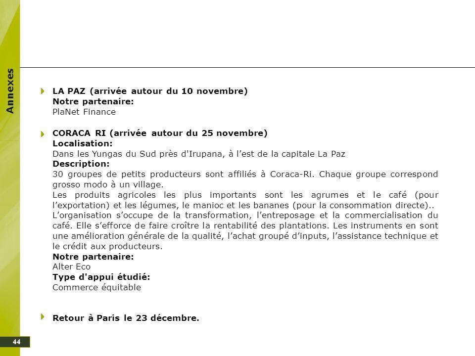Annexes 44 LA PAZ (arrivée autour du 10 novembre) Notre partenaire: PlaNet Finance CORACA RI (arrivée autour du 25 novembre) Localisation: Dans les Yu