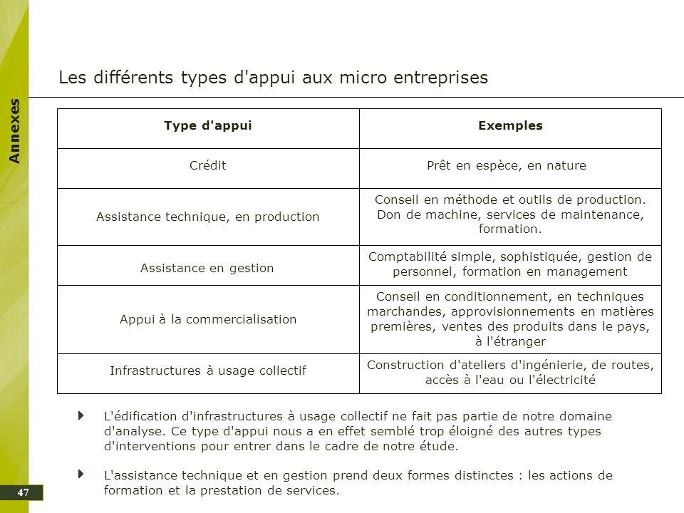Annexes Les différents types d'appui aux micro entreprises L'édification d'infrastructures à usage collectif ne fait pas partie de notre domaine d'ana