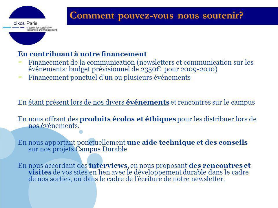 Company LOGO En contribuant à notre financement - Financement de la communication (newsletters et communication sur les événements: budget prévisionne