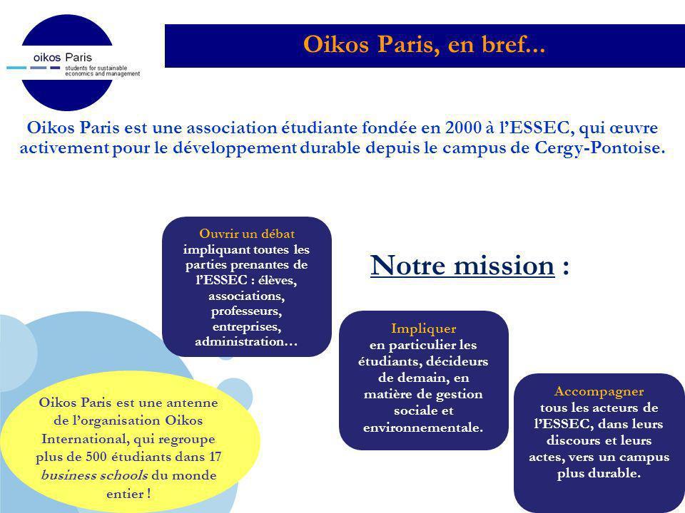 Company LOGO Oikos Paris, en bref... Oikos Paris est une association étudiante fondée en 2000 à lESSEC, qui œuvre activement pour le développement dur