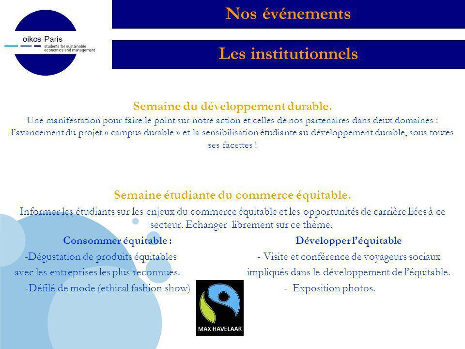 Company LOGO Sensibilisation & vitrines dentreprises Journée des cosmétiques bios (4 février 2010) Un événement convivial organisé par oikos pour la 2 ème année consécutive, rassemblant les plus grandes marques du secteur.