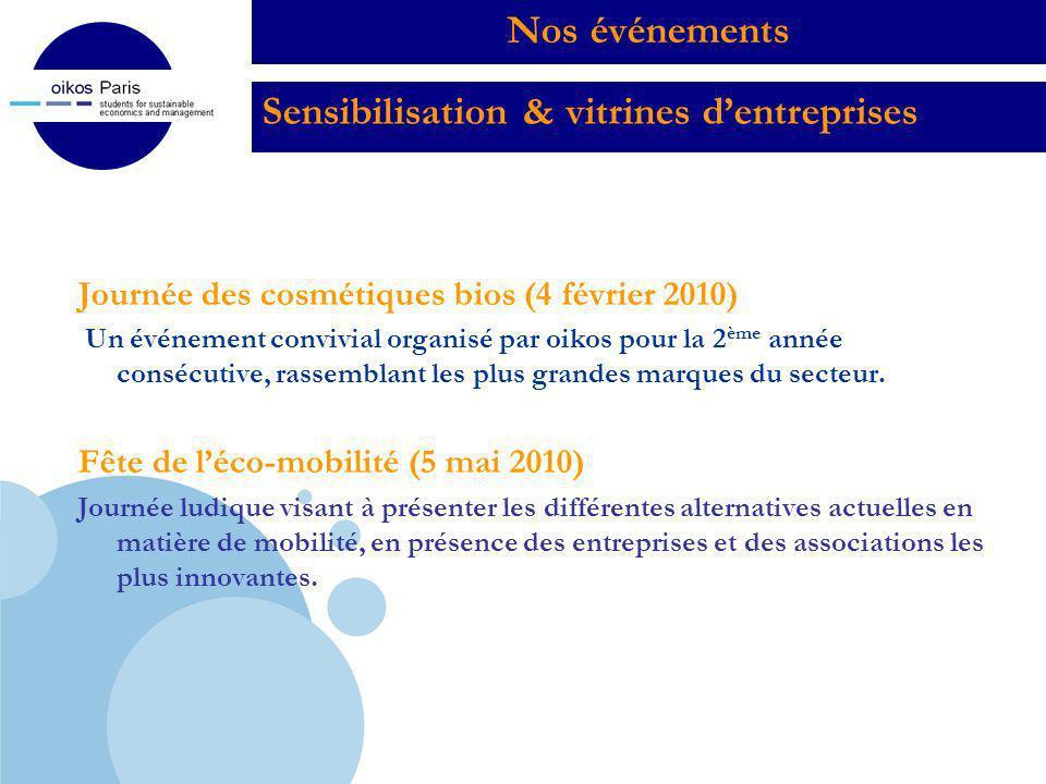 Company LOGO Sensibilisation & vitrines dentreprises Journée des cosmétiques bios (4 février 2010) Un événement convivial organisé par oikos pour la 2