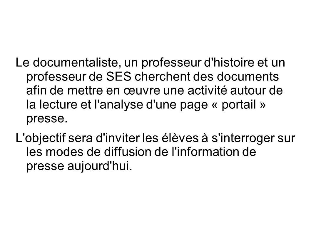 Le documentaliste, un professeur d'histoire et un professeur de SES cherchent des documents afin de mettre en œuvre une activité autour de la lecture