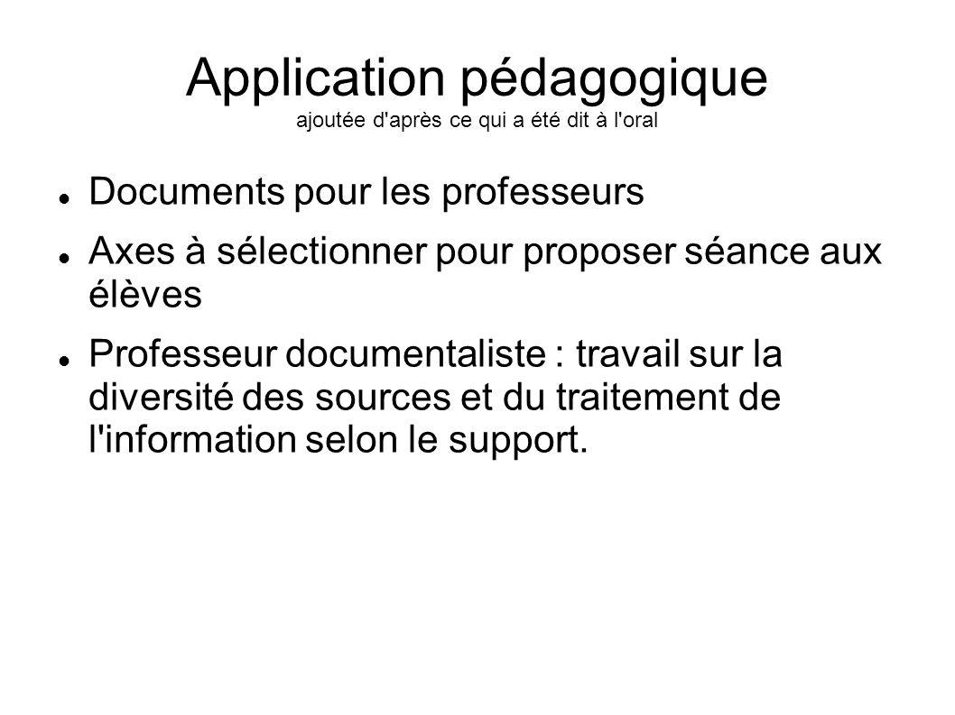 Application pédagogique ajoutée d'après ce qui a été dit à l'oral Documents pour les professeurs Axes à sélectionner pour proposer séance aux élèves P