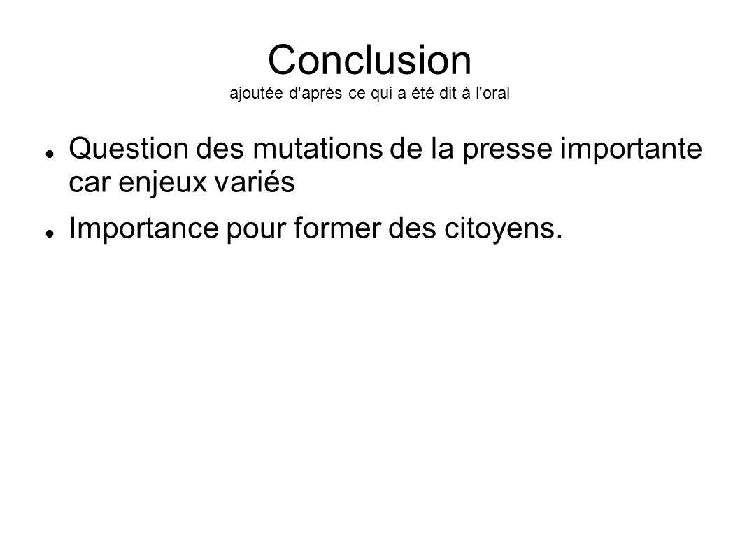 Conclusion ajoutée d'après ce qui a été dit à l'oral Question des mutations de la presse importante car enjeux variés Importance pour former des citoy