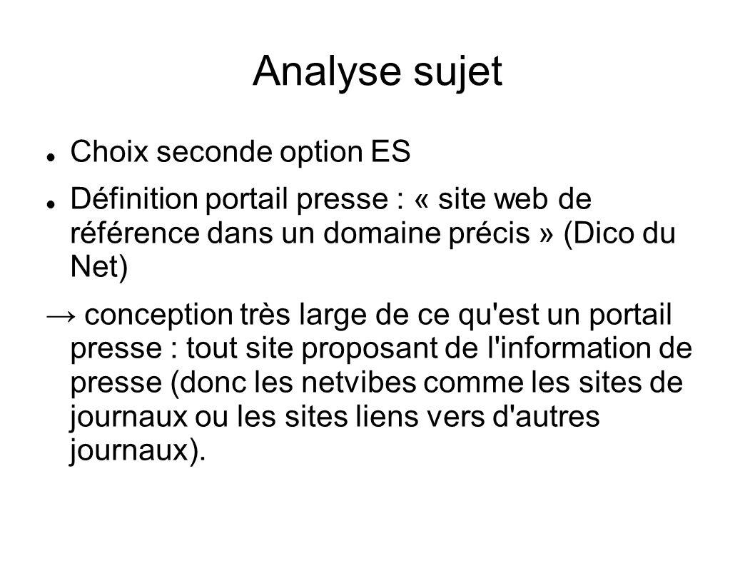 Analyse sujet Choix seconde option ES Définition portail presse : « site web de référence dans un domaine précis » (Dico du Net) conception très large