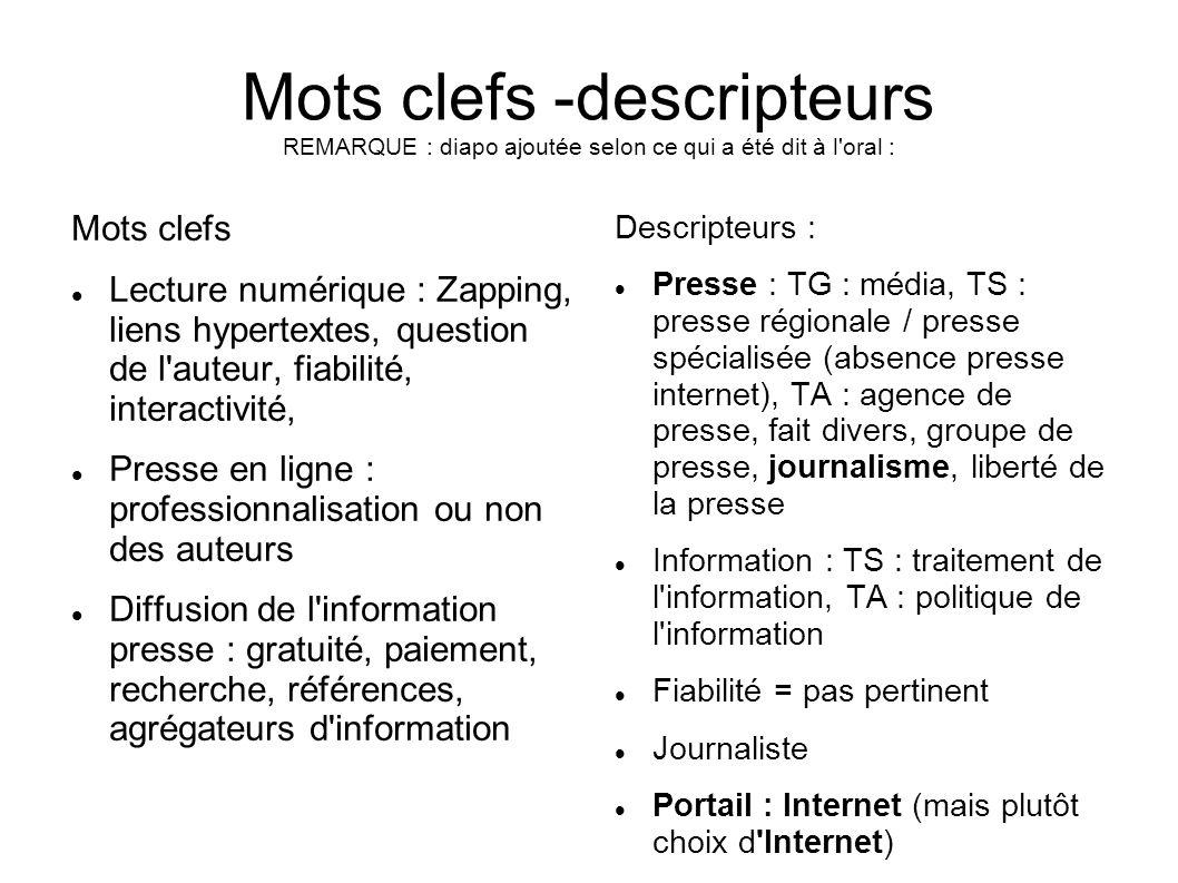 Mots clefs -descripteurs REMARQUE : diapo ajoutée selon ce qui a été dit à l'oral : Mots clefs Lecture numérique : Zapping, liens hypertextes, questio