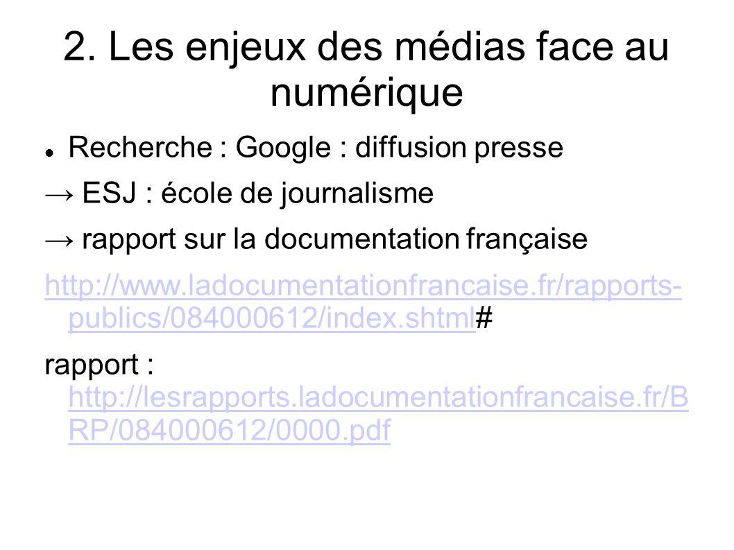 2. Les enjeux des médias face au numérique Recherche : Google : diffusion presse ESJ : école de journalisme rapport sur la documentation française htt