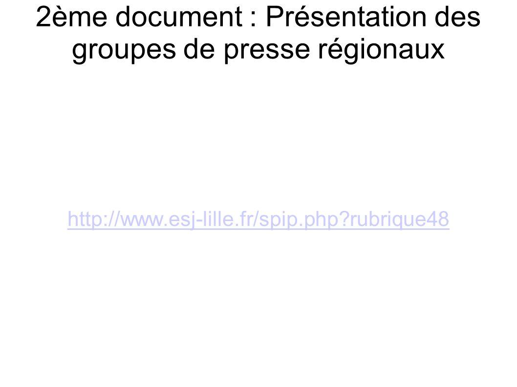 2ème document : Présentation des groupes de presse régionaux http://www.esj-lille.fr/spip.php rubrique48