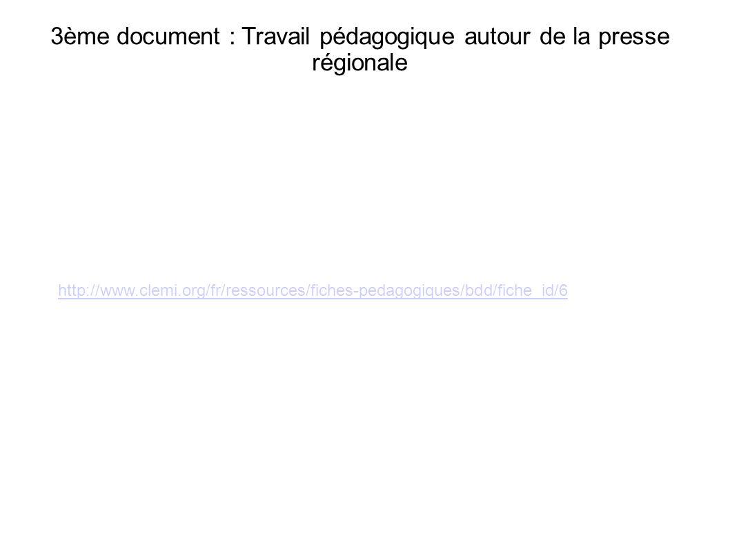 3ème document : Travail pédagogique autour de la presse régionale http://www.clemi.org/fr/ressources/fiches-pedagogiques/bdd/fiche_id/6