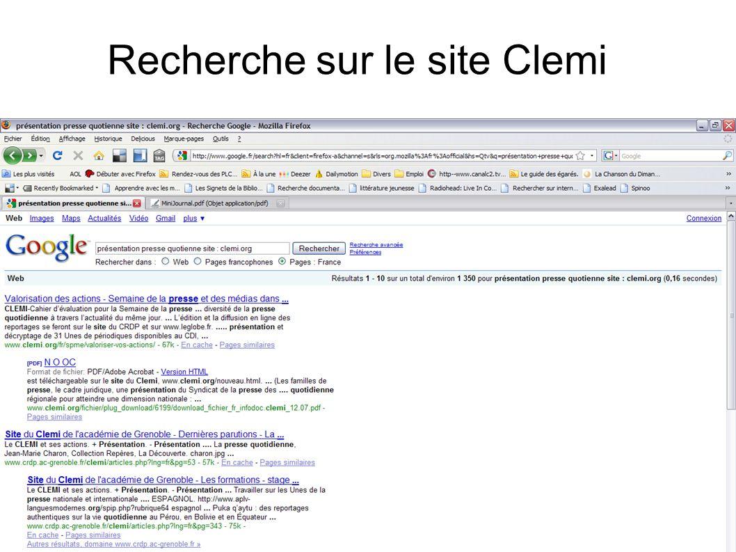 Recherche sur le site Clemi