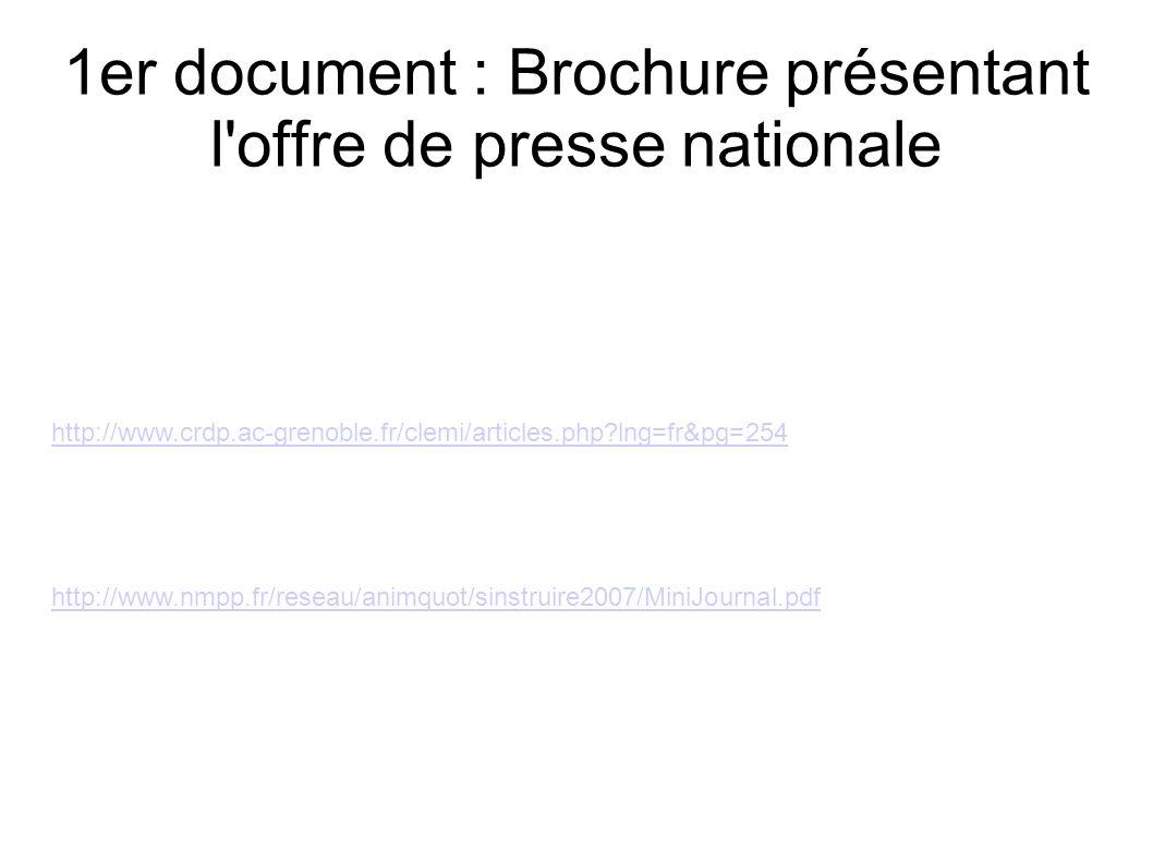 1er document : Brochure présentant l offre de presse nationale http://www.nmpp.fr/reseau/animquot/sinstruire2007/MiniJournal.pdf http://www.crdp.ac-grenoble.fr/clemi/articles.php lng=fr&pg=254