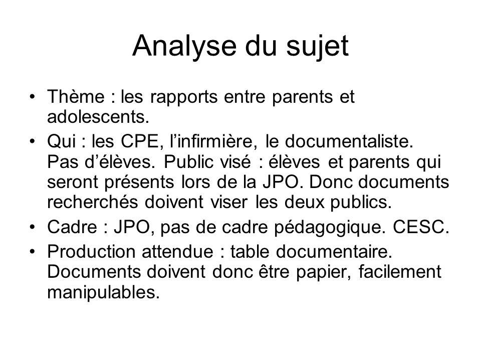 Analyse du sujet Thème : les rapports entre parents et adolescents.
