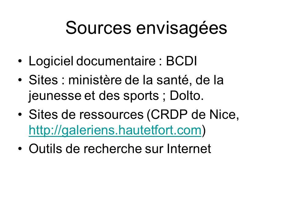 Sources envisagées Logiciel documentaire : BCDI Sites : ministère de la santé, de la jeunesse et des sports ; Dolto.