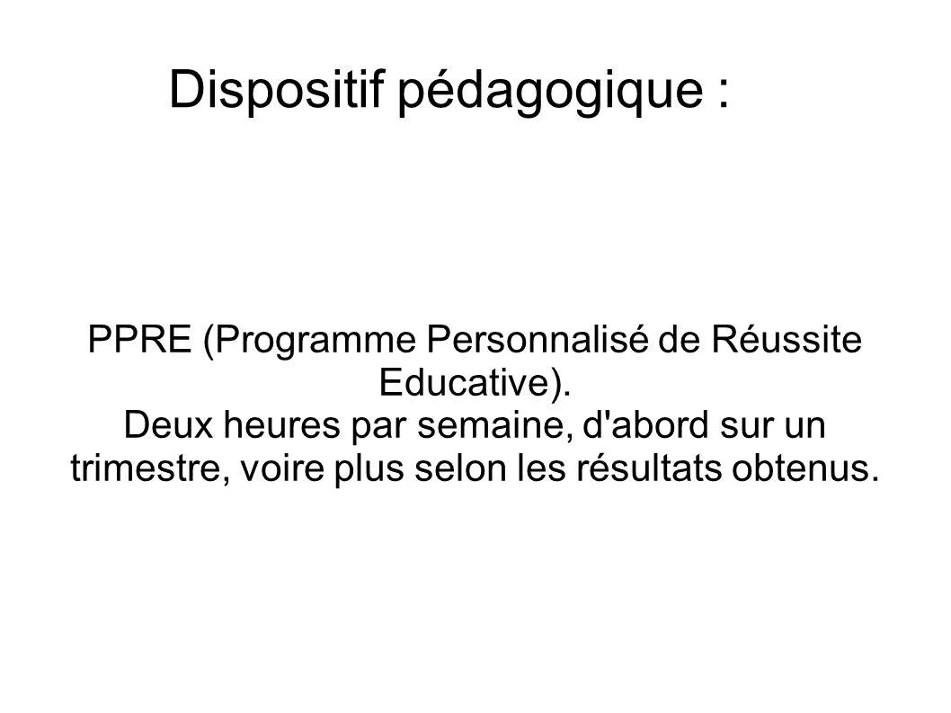 Dispositif pédagogique : PPRE (Programme Personnalisé de Réussite Educative). Deux heures par semaine, d'abord sur un trimestre, voire plus selon les