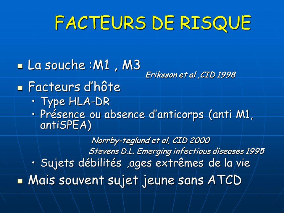 FACTEURS DE RISQUE La souche :M1, M3 La souche :M1, M3 Eriksson et al,CID 1998 Eriksson et al,CID 1998 Facteurs dhôte Facteurs dhôte Type HLA-DRType H