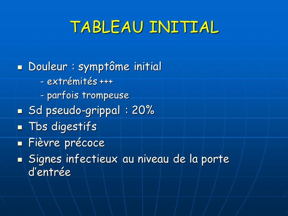 TABLEAU INITIAL Douleur : symptôme initial Douleur : symptôme initial - extrémités +++ - extrémités +++ - parfois trompeuse - parfois trompeuse Sd pse