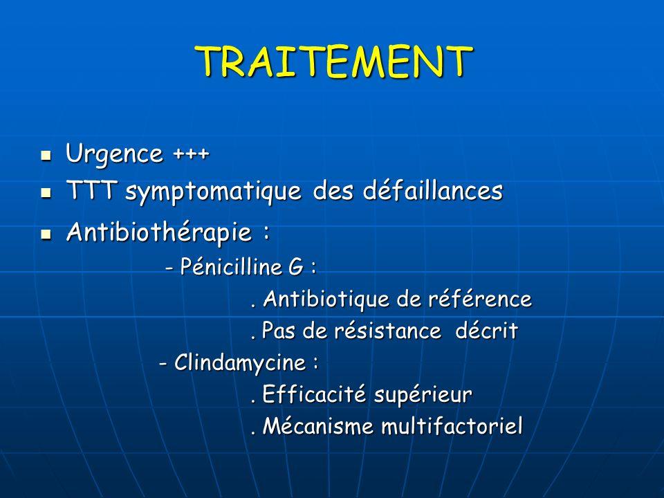 TRAITEMENT Urgence +++ Urgence +++ TTT symptomatique des défaillances TTT symptomatique des défaillances Antibiothérapie : Antibiothérapie : - Pénicil