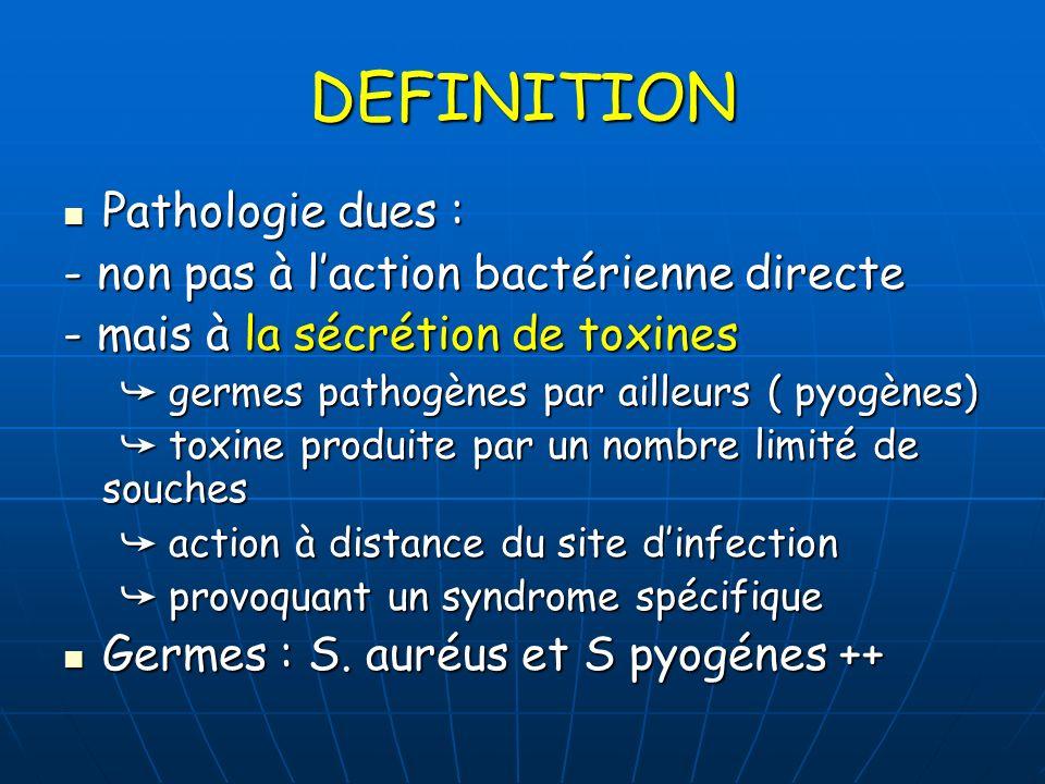PATHOLOGIES Choc toxique staphylococcique (TSS) ou Choc toxique staphylococcique (TSS) ou streptococcique ( STSS) Scarlatine staphylococcique ou streptococcique Scarlatine staphylococcique ou streptococcique Maladies exfoliantes Maladies exfoliantes Fasciites nécrosantes Fasciites nécrosantes Toxi-infections alimentaires Toxi-infections alimentaires …