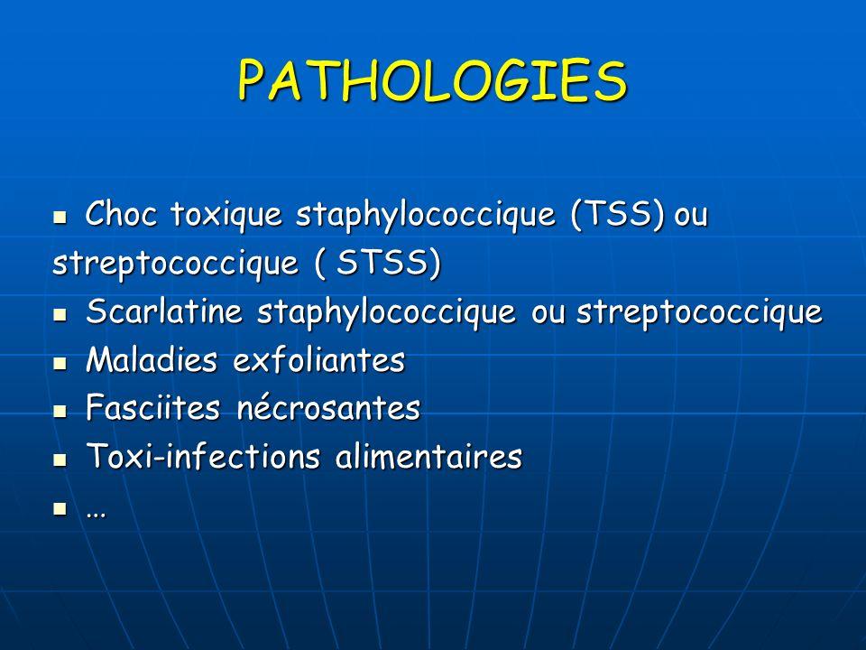 PATHOLOGIES Choc toxique staphylococcique (TSS) ou Choc toxique staphylococcique (TSS) ou streptococcique ( STSS) Scarlatine staphylococcique ou strep