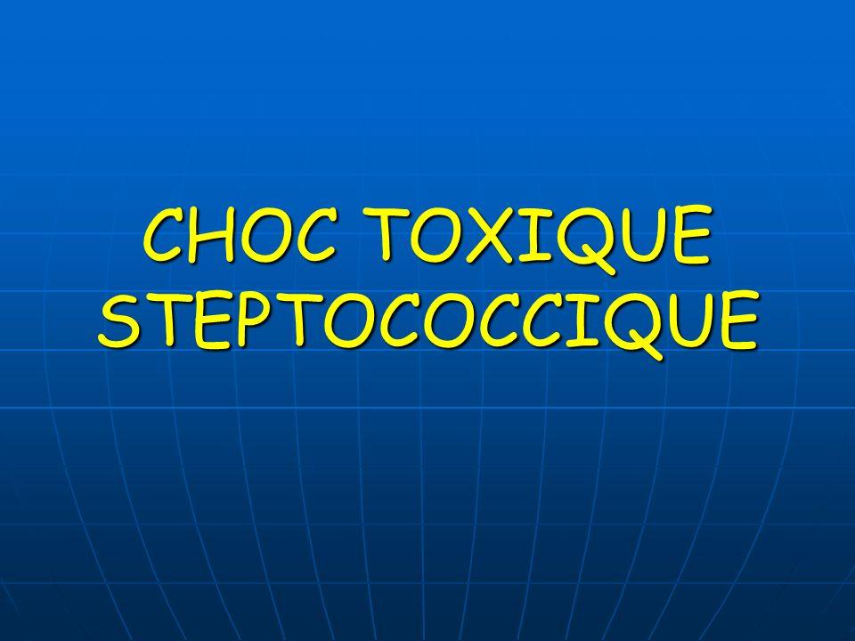 ANTIGENES DIFFUSIBLES Toxines érythrogènes : Toxines érythrogènes : - A,B ou C ( ou exotoxines pyrogènes SpeA, SpeB et SpeC ) - A,B ou C ( ou exotoxines pyrogènes SpeA, SpeB et SpeC ) - sécrétées pas certaines souches - sécrétées pas certaines souches - responsables de léruption de la scarlatine Toxines A et C : Toxines A et C : - en plus des propriétés de super antigènes - idem :protéine Ssa ( super antigène de streptocoque A ) syndrome de choc toxique syndrome de choc toxique