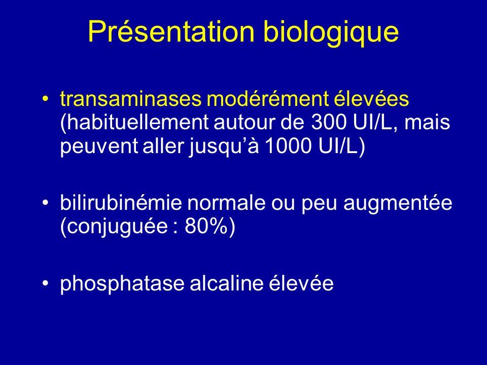 Présentation biologique transaminases modérément élevées (habituellement autour de 300 UI/L, mais peuvent aller jusquà 1000 UI/L) bilirubinémie normal