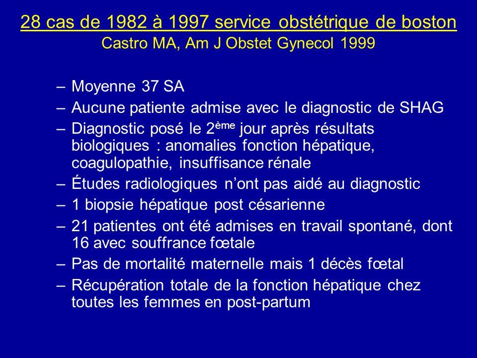 28 cas de 1982 à 1997 service obstétrique de boston Castro MA, Am J Obstet Gynecol 1999 –Moyenne 37 SA –Aucune patiente admise avec le diagnostic de S