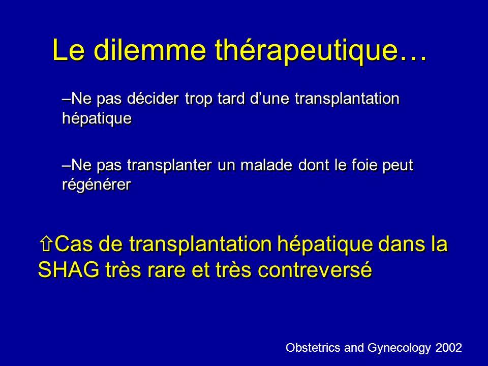 Le dilemme thérapeutique… –Ne pas décider trop tard dune transplantation hépatique –Ne pas transplanter un malade dont le foie peut régénérer ñ Cas de