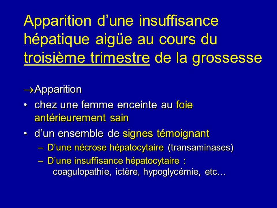 Apparition chez une femme enceinte au foie antérieurement sain dun ensemble de signes témoignant –Dune nécrose hépatocytaire (transaminases) –Dune ins