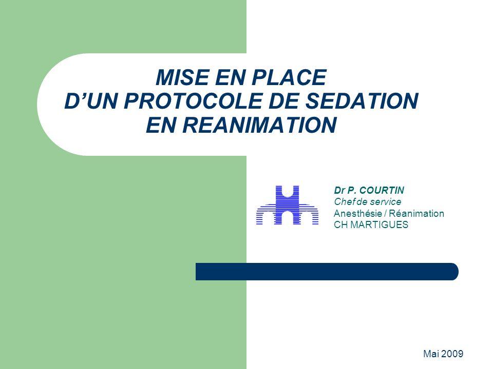 Mai 2009 MISE EN PLACE DUN PROTOCOLE DE SEDATION EN REANIMATION Dr P. COURTIN Chef de service Anesthésie / Réanimation CH MARTIGUES