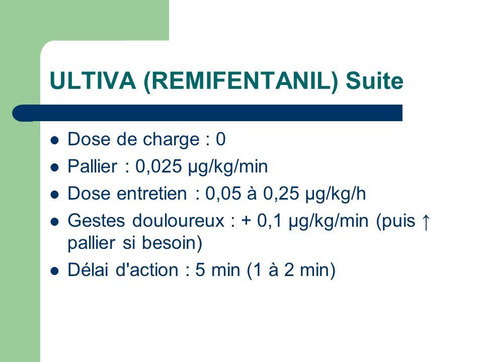 ULTIVA (REMIFENTANIL) Suite Dose de charge : 0 Pallier : 0,025 µg/kg/min Dose entretien : 0,05 à 0,25 µg/kg/h Gestes douloureux : + 0,1 µg/kg/min (puis pallier si besoin) Délai d action : 5 min (1 à 2 min)
