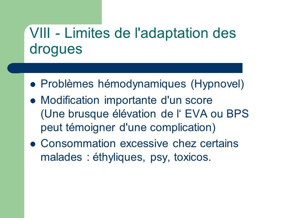 VIII - Limites de l'adaptation des drogues Problèmes hémodynamiques (Hypnovel) Modification importante d'un score (Une brusque élévation de l EVA ou B