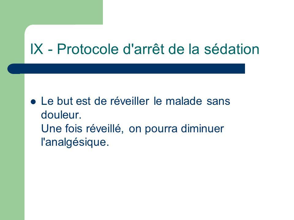 IX - Protocole d'arrêt de la sédation Le but est de réveiller le malade sans douleur. Une fois réveillé, on pourra diminuer l'analgésique.