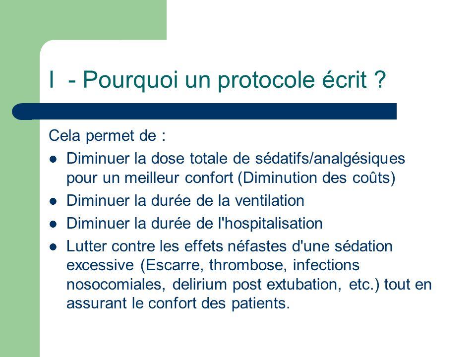 I - Pourquoi un protocole écrit ? Cela permet de : Diminuer la dose totale de sédatifs/analgésiques pour un meilleur confort (Diminution des coûts) Di